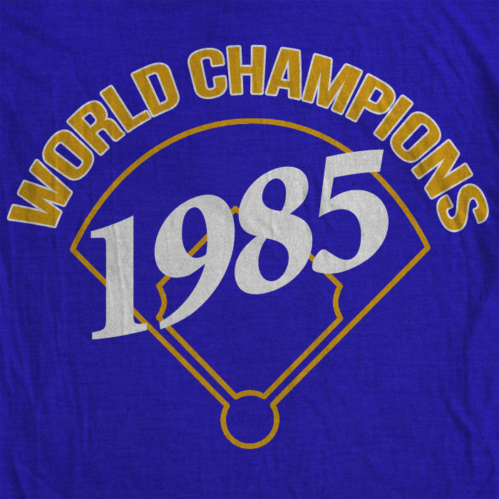 Blue 1985 World Champions t-shirt celebrating the Kansas City Royals first world championship title.