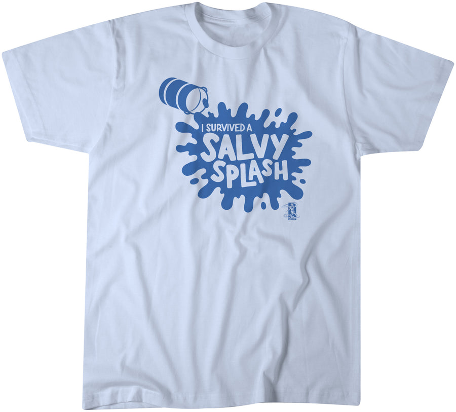 """I Survived a Salvy Spash"" t-shirt commemorating Kansas City Royals catcher Salvador Pérez doing his signature Gatorade splash!"