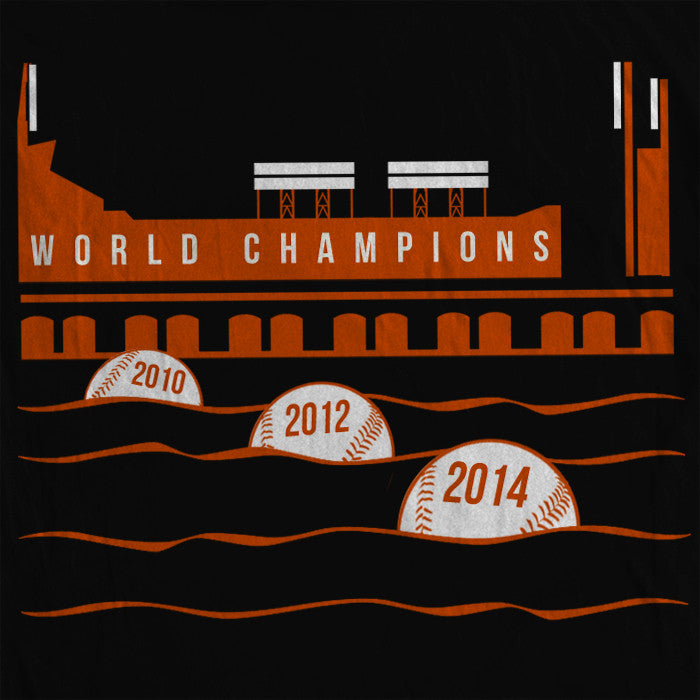 San Francisco Giants World Champions t-shirt. Show your pride with this McCovey Cove inspired commemorative tee - orange and white print on ultra-soft black tee.
