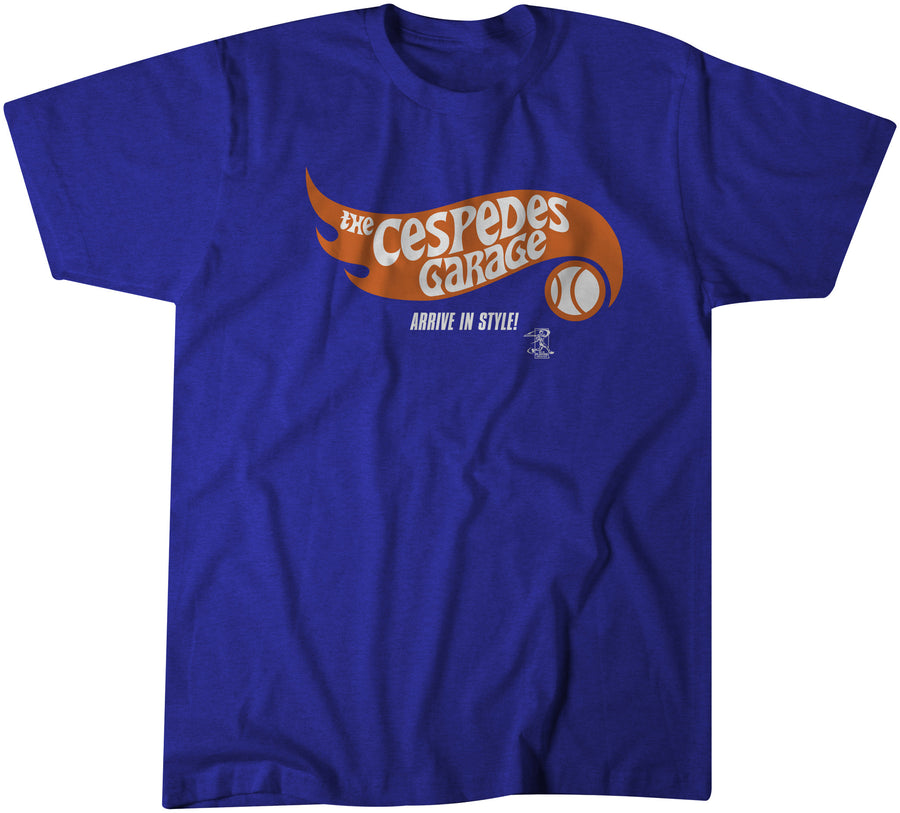 The Cespedes Garage tee, a super soft blue shirt with orange and white print inspired by Mets superstar Yoenis Cespedes and his insane car collection.