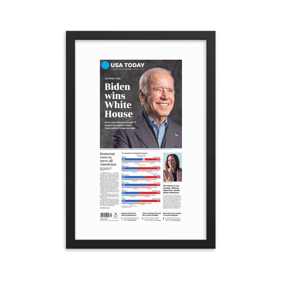 'Biden Wins White House' Framed Reprint