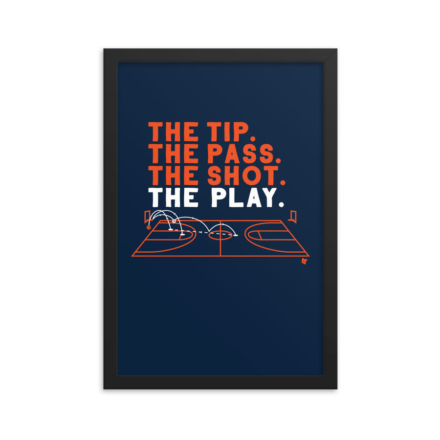 The Tip. The Pass. The Shot. The Play. Framed Print