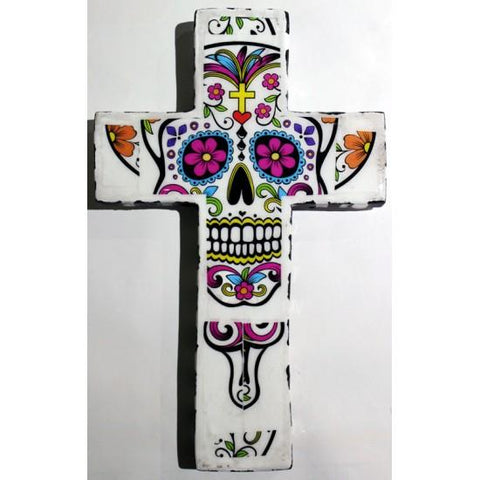 Plaster Cross Candy Skull