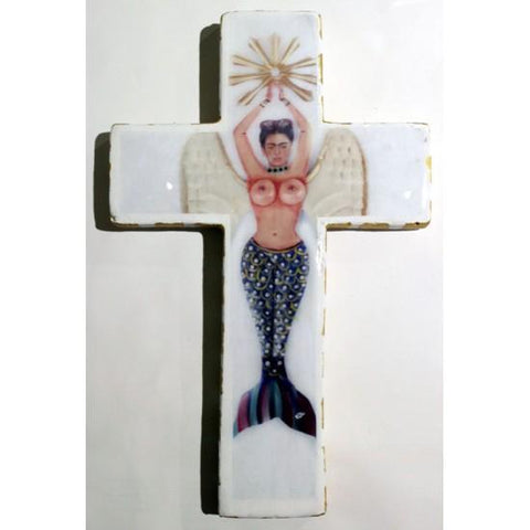 Plaster Cross Frida Kahlo Mermaid