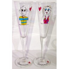 Honeymoon Couple Champagne Flute