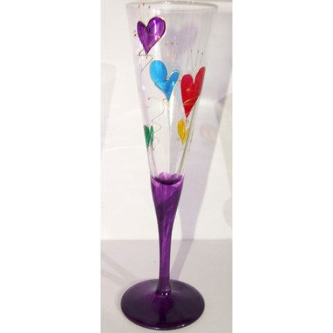 Purple with Colourful Hearts Champagne Flute