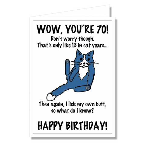 Greeting Card - Happy Birthday Cat 70th