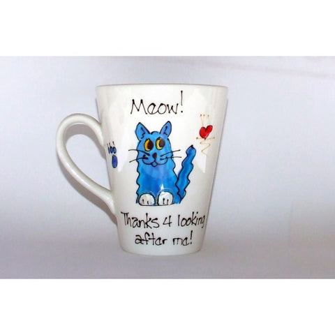 Blue Long Hair Thanks Cat Mug