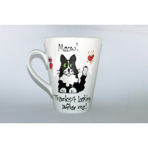 Black/White Tuxedo Thanks Cat Mug
