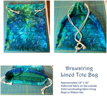 Load image into Gallery viewer, Blue and Green Tie-Dyed Batik Drawstring Tote Bag Lined Market Book Bag Reusable Washable Handmade Made in the USA