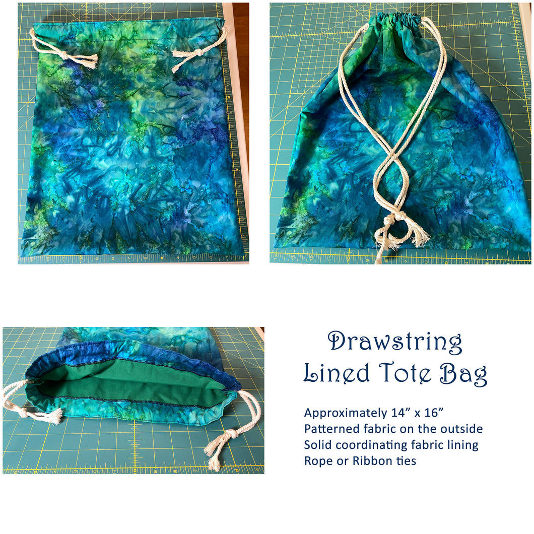 Blue and Green Tie-Dyed Batik Drawstring Tote Bag Lined Market Book Bag Reusable Washable Handmade Made in the USA