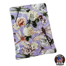 Load image into Gallery viewer, Dragonflies on Flowers Padded Book Sleeve | BookGoodies | Book Pocket | Protective Book Bag | Book Pouch | Bookish Nerd Gift