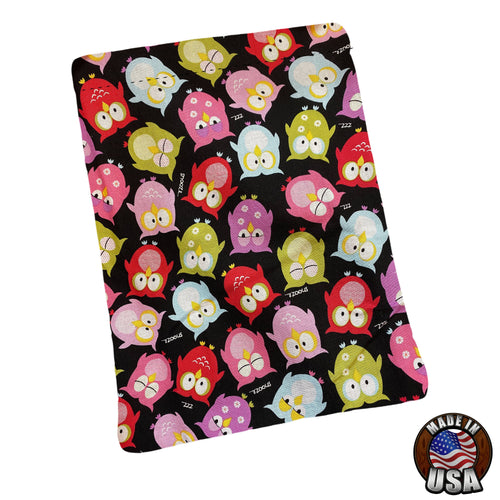 Colorful Tossed Owls Padded Book Sleeve | BookGoodies | Book Pocket | Protective Book Bag | Book Pouch | Bookish Nerd Gift