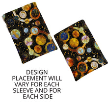 Load image into Gallery viewer, Celestial Planets Stars Cotton Fleece Padded Book Sleeve | BookGoodies | Book Pocket | Protective Book Bag | Book Pouch | Bookish Nerd Gift