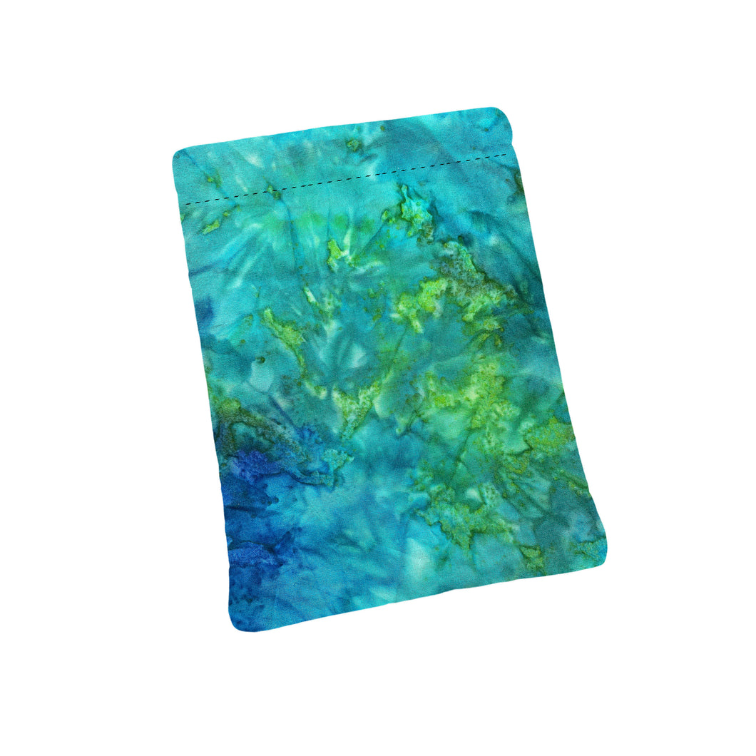 Blue Green Watercolor Batik Padded Book Sleeve | BookGoodies | Book Pocket | Protective Book Bag | Book Pouch | Bookish Nerd Gift