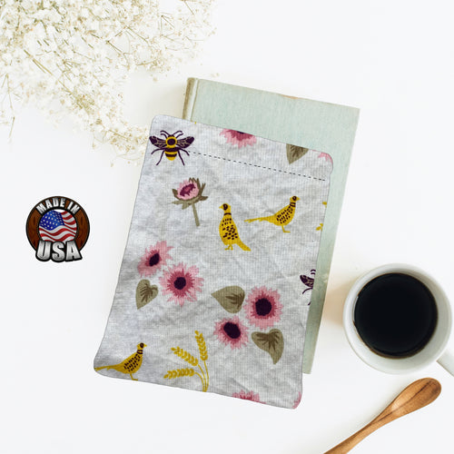 Bees Quails and Pink Flowers Book Nerd Christmas Gift Fleece Padded Book Sleeve | Book Pocket | Protective Book Bag | Book Pouch