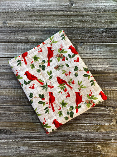 Limited Edition Christmas Cardinals on Music & Holly Padded Book Sleeve | Book Pocket | Protective Book Bag | Book Pouch | Bookish Nerd Gift