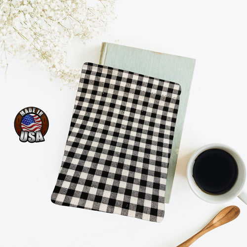 Black Gray Buffalo Check Padded Book Sleeve | BookGoodies | Book Pocket | Protective Book Bag | Book Pouch | Bookish Nerd Gift