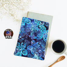 Load image into Gallery viewer, Blue Butterfly Batik Padded Book Sleeve | BookGoodies | Book Pocket | Protective Book Bag | Book Pouch | Bookish Nerd Gift