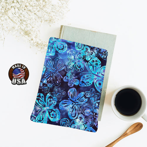 Blue Butterfly Batik Padded Book Sleeve | BookGoodies | Book Pocket | Protective Book Bag | Book Pouch | Bookish Nerd Gift