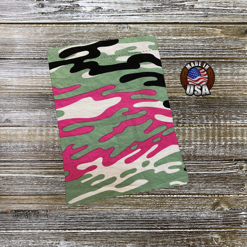 Camo Neon Pink Green Black Padded Book Sleeve | BookGoodies | Book Pocket | Protective Book Bag | Book Pouch | Bookish Nerd Gift