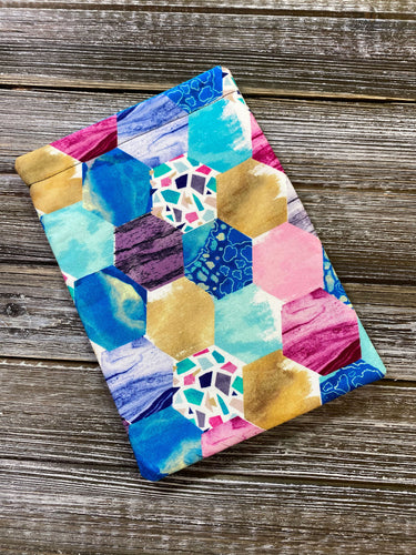 Geometric Gemstones Turquoise Hexagons Padded Book Sleeve | BookGoodies | Book Pocket | Protective Book Bag | Book Pouch | Bookish Nerd Gift