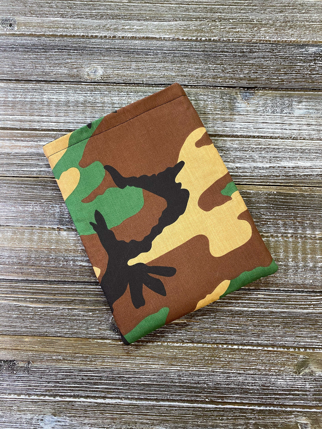Camo Green Brown Tan Padded Book Sleeve | BookGoodies | Book Pocket | Protective Book Bag | Book Pouch | Bookish Nerd Gift