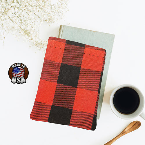 Black Red Jumbo Buffalo Check Padded Book Sleeve | BookGoodies | Book Pocket | Protective Book Bag | Book Pouch | Bookish Nerd Gift
