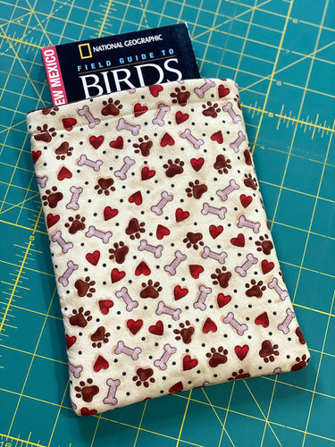 Red Hearts & Paws Dog Bones Fabric Book Sleeve | Kindle Accessories | Book Pocket | Protective Book Bag | Book Pouch | Bookish Nerd Gift