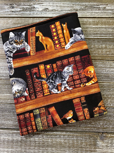 READY TO SHIP Cats in the Library on Shelves Cotton Padded Book Sleeve | Book Pocket | Protective Book Bag | Book Pouch | Bookish Nerd Gift
