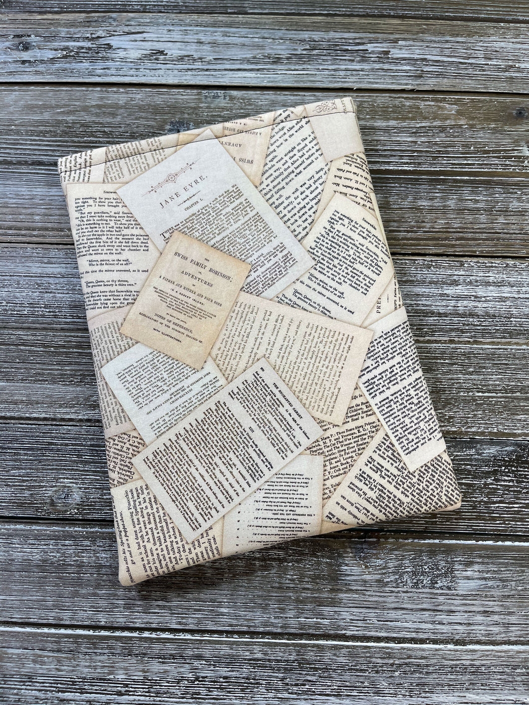 Book Pages from Classic Novels Tossed Cotton Padded Book Sleeve | Book Pocket | Protective Book Bag | Book Pouch | Bookish Nerd Gift