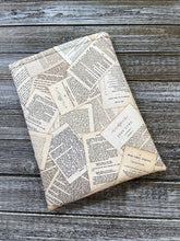 Load image into Gallery viewer, Book Pages from Classic Novels Tossed Cotton Padded Book Sleeve | Book Pocket | Protective Book Bag | Book Pouch | Bookish Nerd Gift