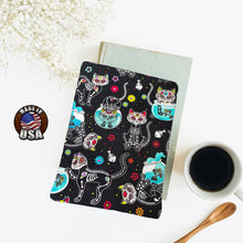 Load image into Gallery viewer, Cat Sugar Skulls with Fish Bowls Book Nerd Gift Fleece Padded Book Sleeve | Book Pocket | Protective Book Bag | Book Pouch