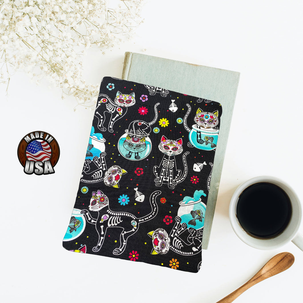 Cat Sugar Skulls with Fish Bowls Book Nerd Gift Fleece Padded Book Sleeve | Book Pocket | Protective Book Bag | Book Pouch