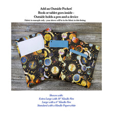 Load image into Gallery viewer, Apples Pears Grapes Fabric Fleece Padded Book Sleeve | BookGoodies | Book Pocket | Protective Book Bag | Book Pouch | Bookish Nerd Gift