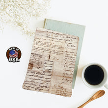 Load image into Gallery viewer, Antique Brown Vintage Correspondence Calligraphy Fleece Padded Book Sleeve Bookish Nerd Gift  | Book Pocket | Book Pouch Kindle Accessory
