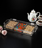 ACRYLIC LASER SERVING TRAY FLIP COVER / 3 COMPARTMENTS, SIZE: 39X20X5.5CM