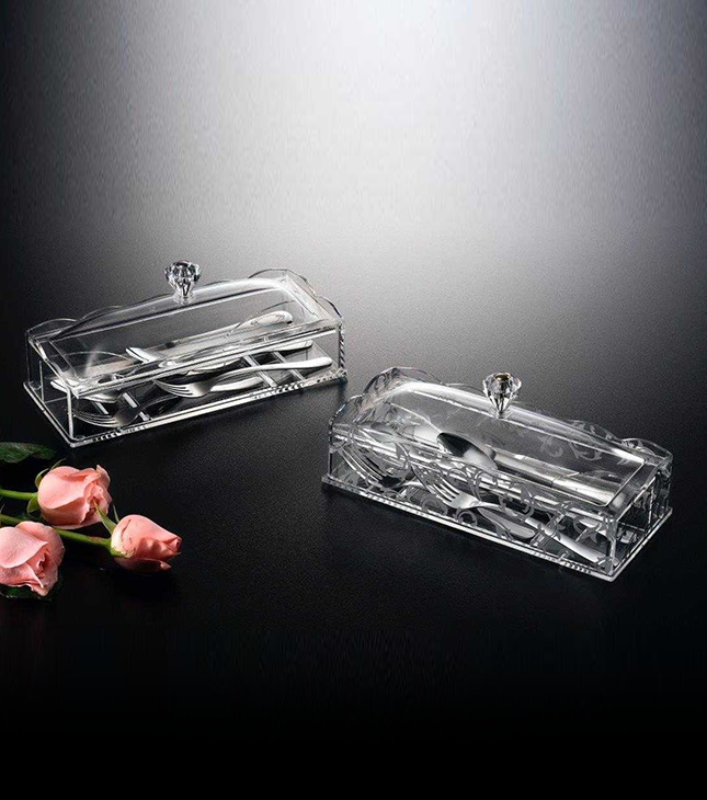 Acrylic Cutlery Holder with cover size: 25.5 x 11 x 10 CM