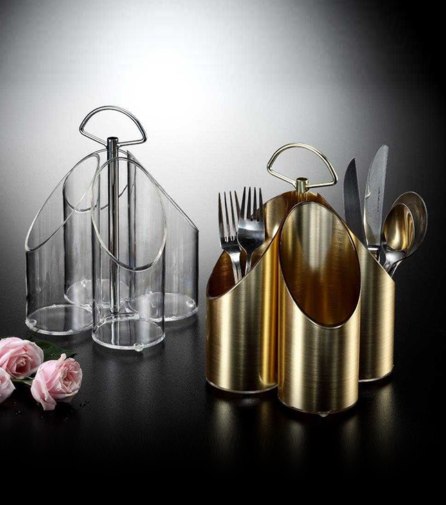 Acrylic Cutlery Holder, golden and clear