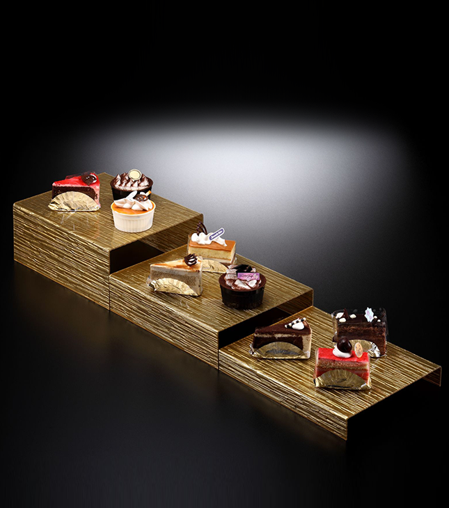 Acrylic Dessert Display Set/3 Bark Golden