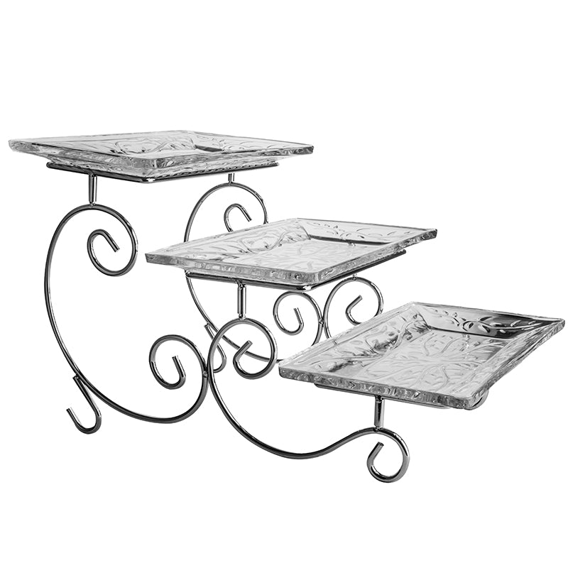 Silver 3 Tier Cake Stand with Glass Platter 27.5 x 16 cm