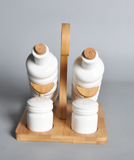 Porcelain Oil & Salt & Pepper with Bamboo Stand