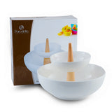 Porcelain 2 Tier Bowl Serving Set, size: 26*26*20.5 CM