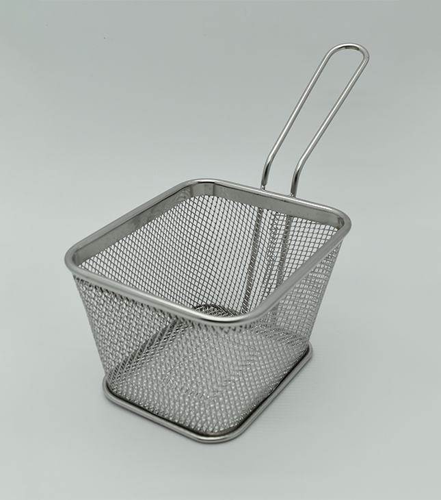 Stainless Steel rectangular fry basket, size: 12.5*10*8 cm