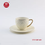 Rose Coffee Cup & Saucer Set /12 Pcs, White color (1717)