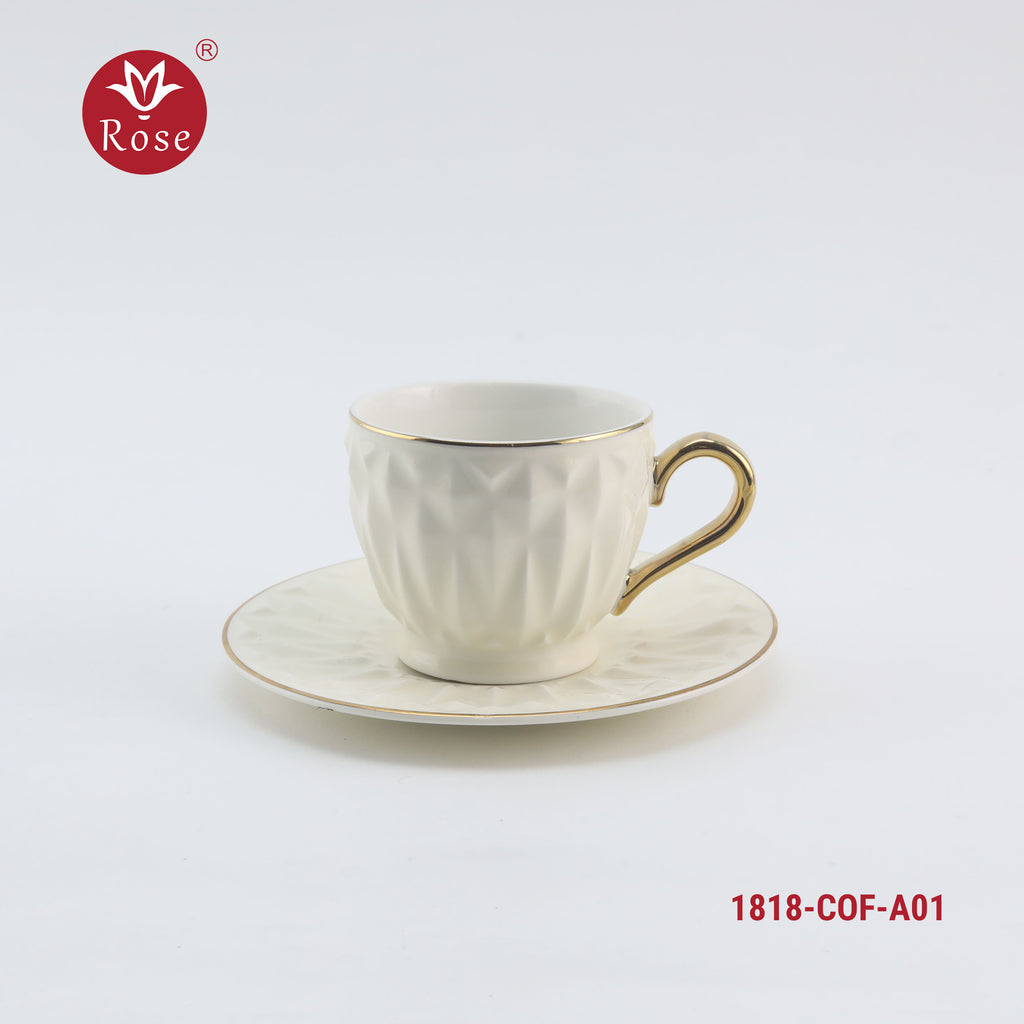 Rose Coffee Cup & Saucer Set /12 Pcs, White color (1818)