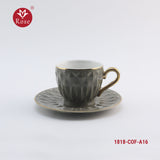 Rose Coffee Cup & Saucer Set /12 Pcs, Grey color (1818)