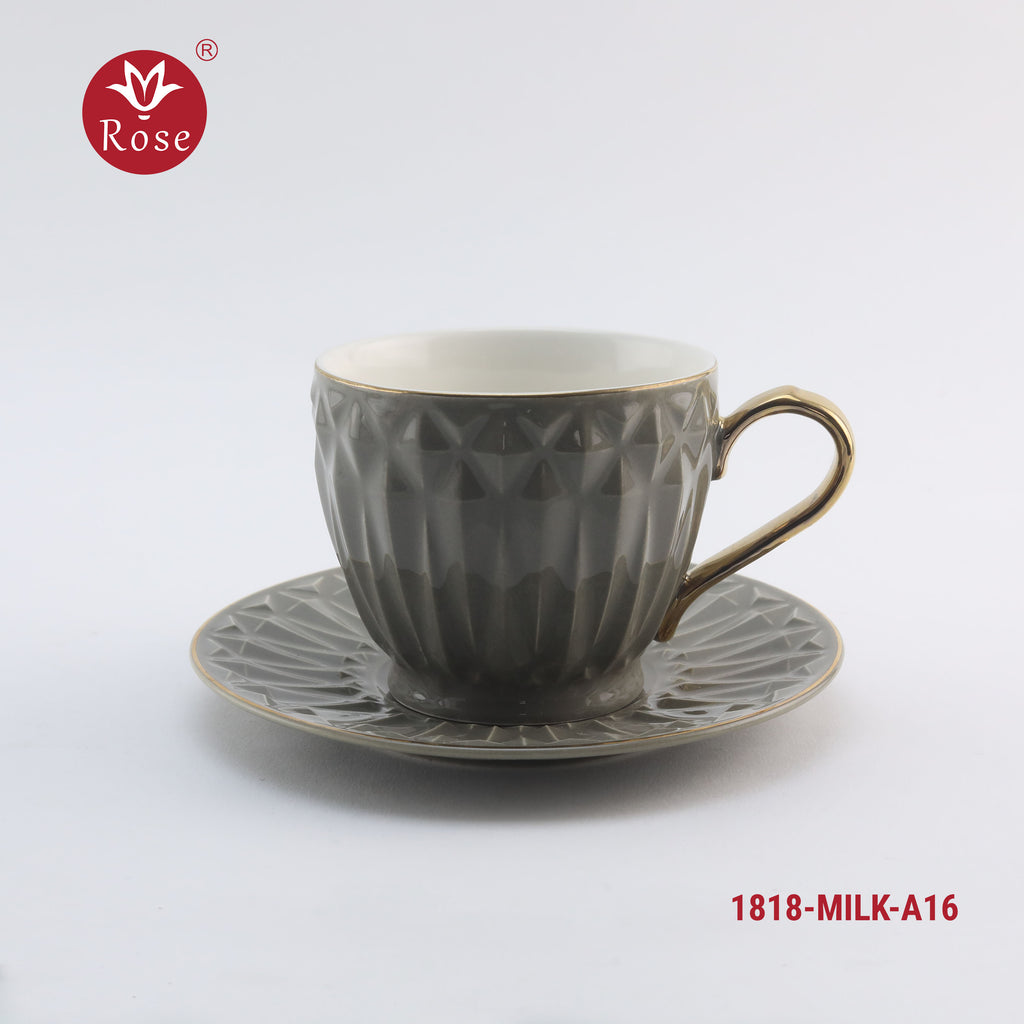 Coffee Milk Cup & Saucers 6 Pcs Set, grey color (1818)