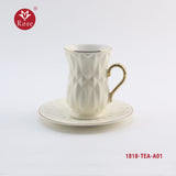 Rose Tea Cup & Saucers 6 Pcs Set. White color (1818)