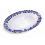 "Vague Melamine Deep Oval Plate 14"" Blue Line"